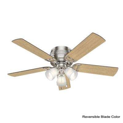 Prim 52 in. LED Indoor 3-Light Brushed Nickel Flush Mount Ceiling Fan