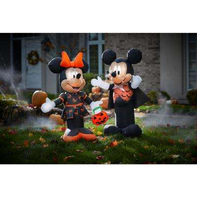 3.5 ft. Pre Lit Inflatable Minnie in Black and Orange Dress-Disney Air-Blown