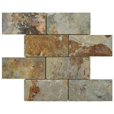 Crag Subway Sunset 11-3/4 in. x 11-3/4 in. x 10 mm Slate Mosaic Tile