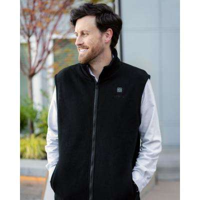 Unisex Black 7.4-Volt Lithium-Ion Heated Fleece Vest with (1) 5.2Ah Battery and Charger
