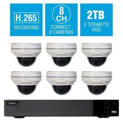 8-Channel 4K 2TB NVR Surveillance System with 4MP 6-Dome Cameras