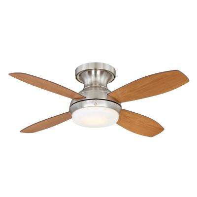Kinsey 44 in. LED Indoor Brushed Nickel Ceiling Fan with SkyPlug Technology with Remote Control