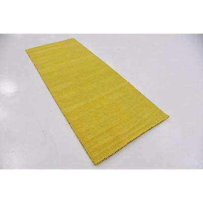 Solid Gava Solid Yellow 2' 7 x 6' 7 Runner Rug
