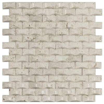 Cotton Bales 11.125 in. x 11.875 in. x 8 mm Beige Marble Mosaic Wall Tile