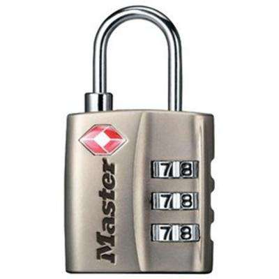 TSA-Accepted Nickel Set-Your-Own Combination Luggage Padlock