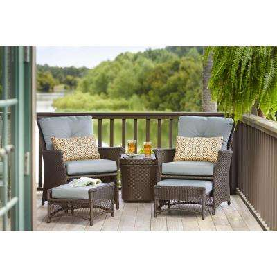 Blue Hill 5-Piece Patio Conversation Set with Blue-Green Cushions