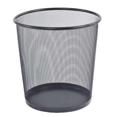 10.5 in. Round Black Steel Mesh Wastepaper Basket