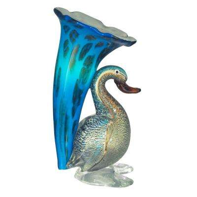 10.25 in. Duck Lily Favrile Blue Accent Lamp with Art Glass Shade