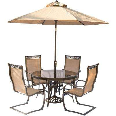5-Piece Aluminum Outdoor Dining Set with Round Glass-Top Table and Contoured Sling Spring Chairs, Umbrella and Base
