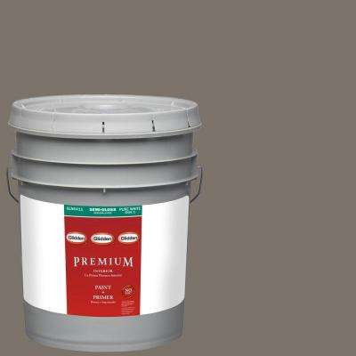 5-gal. #HDGWN52D Wall Street Grey Semi-Gloss Latex Interior Paint with Primer