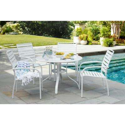 48 in. Commercial Aluminum Round Outdoor Patio Slat Top Dining Table in White