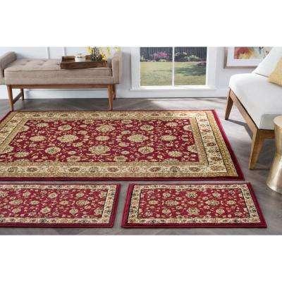Elegance Red 5 ft. x 7 ft. 3-Piece Rug Set