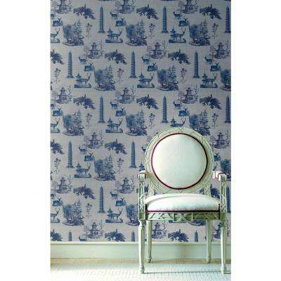 Debut Collection Pagoda Toile in Moon/Midnight Removable and Repositionable Wallpaper