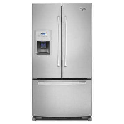 36 in. W 19.7 cu. ft. French Door Refrigerator in Monochromatic Stainless Steel, Counter Depth
