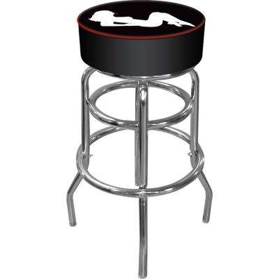 Shadow Babes A Series 31 in. Chrome Swivel Cushioned Bar Stool