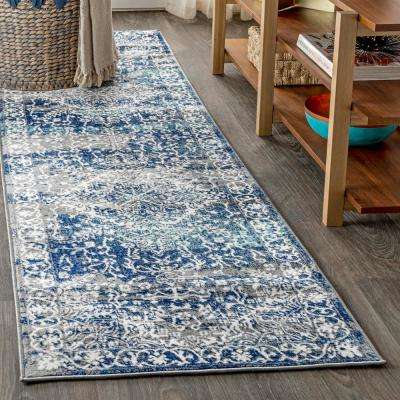 Modern Persian Vintage Medallion Navy /Light Grey 2 ft. x 8 ft. Runner Rug