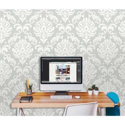 Grey Ariel Peel and Stick Wallpaper