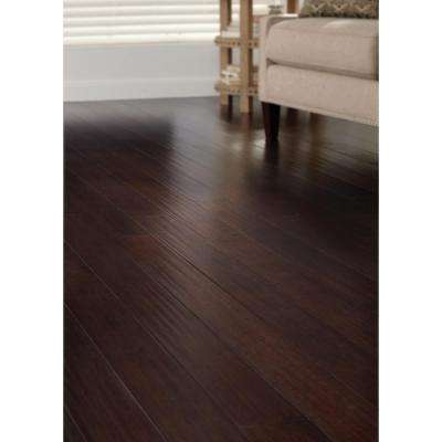 Hand Scraped Strand Woven Walnut 3/8 in. T x 4.92 in. W x 72.83 in. L Engineered Click Bamboo Flooring