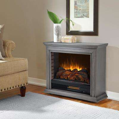 Sheridan 32 in. Freestanding Mobile Infrared Electric Fireplace in Dark Weathered Gray