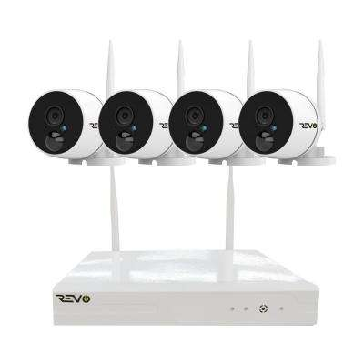 Wireless 4-Channel Smart 1TB NVR Surveillance System with 4 Full-HD 1080p Wireless Audio Capable Bullet Cameras