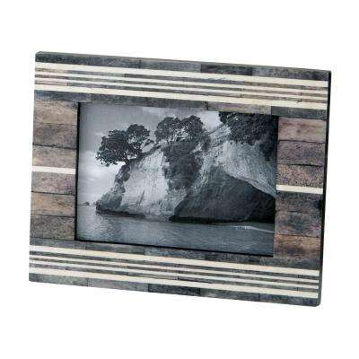 Horn And Bone 1-Opening 4 in. x 6 in. Gray And White Horn And Bone Picture Frame