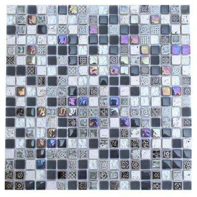 Aztec Art City Slicker Grey 12 in. x 12 in. x 8 mm Glass Mosaic Floor and Wall Tile