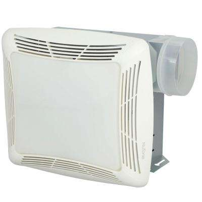 70 CFM Ceiling Exhaust Fan with Light, White Grille and Bulb