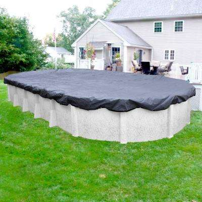 Commercial-Grade Oval Slate Blue Winter Pool Cover