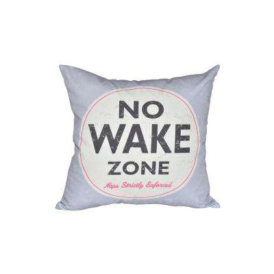 16 in. x 16 in. Gray Nap Zone Word Print Pillow