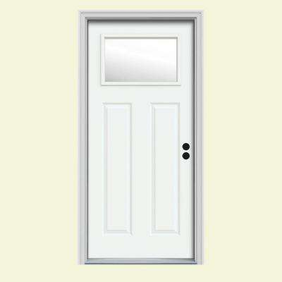 31.438 in. x 81.75 in. 1 Lite Craftsman White Painted Steel Prehung Left-Hand Inswing Front Door w/Brickmould
