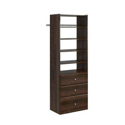 14 in. D x 25.125 in. W x 72 in. H Espresso Wood Premier Closet System Tower