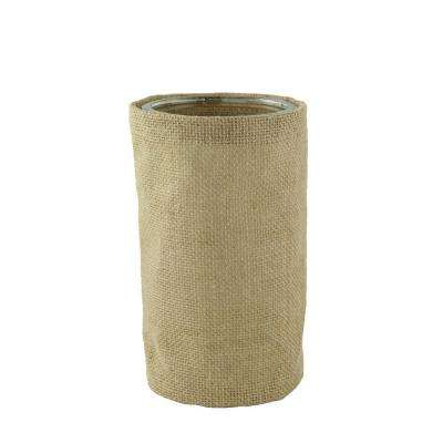 6-1/4 in. Round Burlap with Glass Cylinder