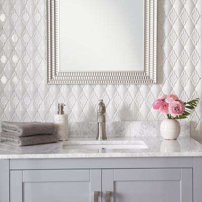 Premier Accents Alabaster Arabesque 12 in. x 14 in. x 12 mm Porcelain Mosaic Wall Tile (0.97 sq. ft. / piece)