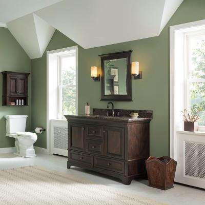 Moorpark 49 in. W x 22 in. D Bath Vanity in Burnished Walnut with Granite Vanity Top in Brown