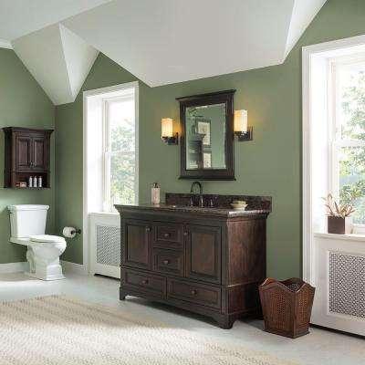 Moorpark 49 in. W x 22 in. D Bath Vanity in Burnished Walnut with Granite Vanity Top in Brown