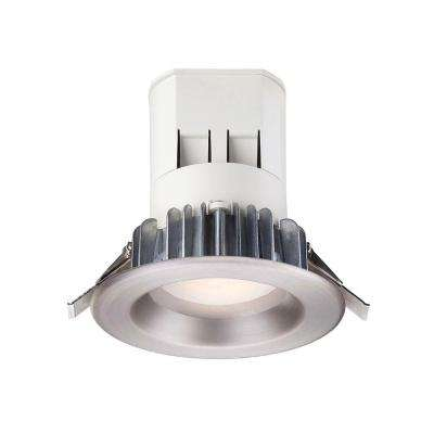 Can Free 4 in. Soft White LED Recessed Light with 93 CRI, 3000K J-Box with Brushed Nickel Trim (No Can Needed)