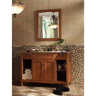 Exhibit 49 in. W x 22 in. D Bath Vanity in Rich Cinnamon with Granite Vanity Top in Golden Hill