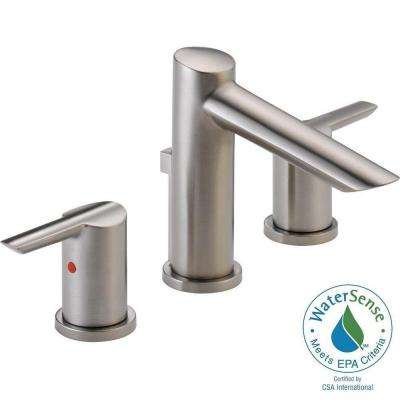 Compel 8 in. Widespread 2-Handle Mid-Arc Bathroom Faucet in Stainless