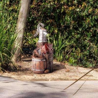 "Alpine Corporation 24"" Tall Outdoor 3-Tier Old-Fashioned Pump Barrel Fountain Yard Art decor"