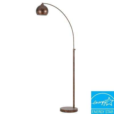 Arc 72 in. Rust Floor Lamp with Metal Shade