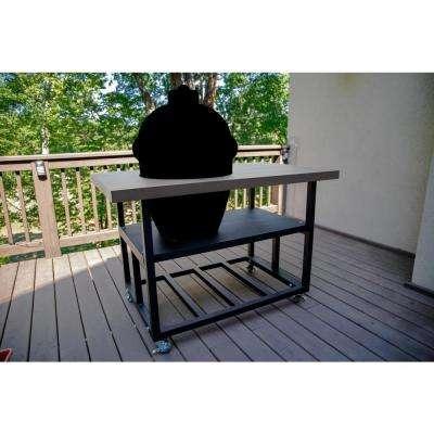 58 in. Aluminum Grill Cart Table for Kamado Joe Big Joe II, Charcoal Gray with Locking Wheels, Lifetime Warranty