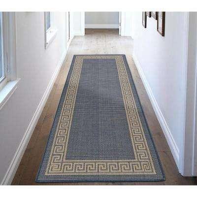 Jardin Collection Blue Greek Border Design Indoor/Outdoor 3 ft. x 7 ft. Jute Back Runner Rug