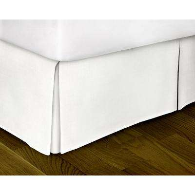 White Solid Pattern Queen Bed Skirt