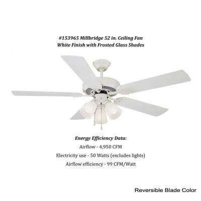 Millbridge 52 in. White Ceiling Fan