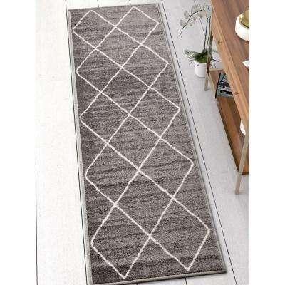 Kings Court Clover Grey 3 ft. x 12 ft. Modern Moroccan Trellis Runner Rug