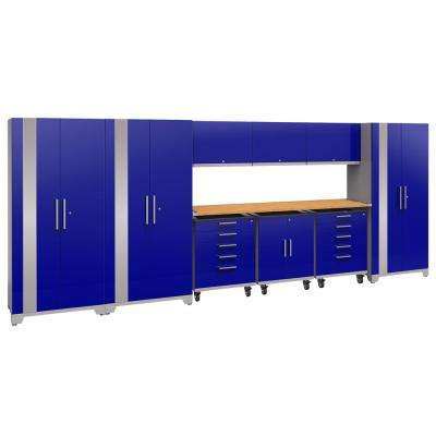 Performance Plus 2.0 80 in. H x 197 in. W x 24 in. D Steel Garage Cabinet Set in Blue (10-Piece) with Bamboo Worktop