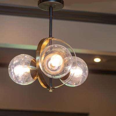 Griggs Globe 3-Light Black Semi-Flush Mount Light