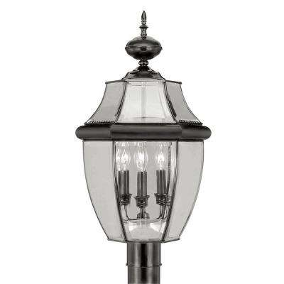 3-Light Outdoor Black Post Head with Clear Beveled Glass