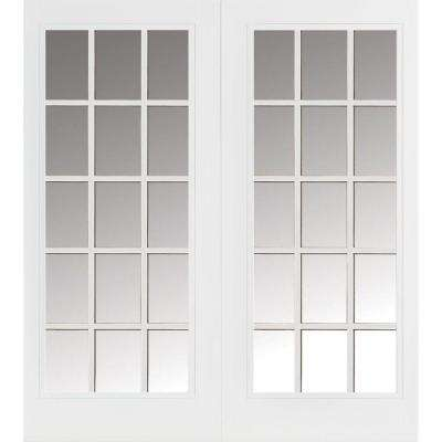 Prehung 15 Lite Primed Smooth Fiberglass Patio Door with Brickmold