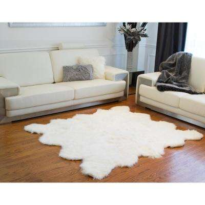 Gordon Off White 6 ft. x 6 ft. Faux Sheepskin Octo Indoor Rug